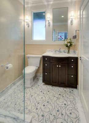 Residential  Bath Remodel In Hillsborough With A Custom Tile Floor.