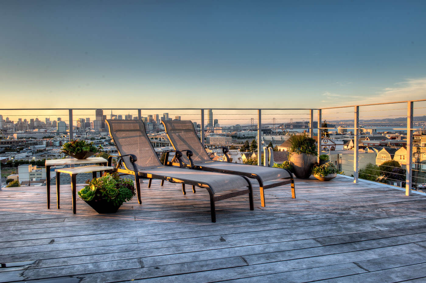 Roof Deck With A View Of The San Francisco Skyline